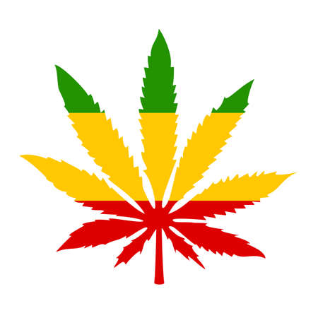 Icône rastafari avec feuille de marijuana