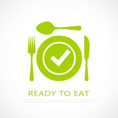 Klaar om gezond voedselpictogram te eten Vector Illustratie