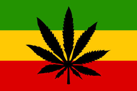 Rastafari flag with cannabis leaf