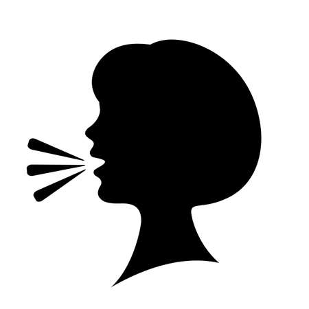Speaking woman silhouette icon Standard-Bild - 105106426