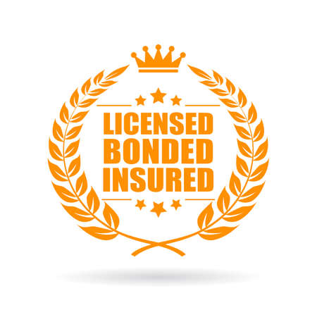 Licensed bonded insured laurel business icon Stock Illustratie
