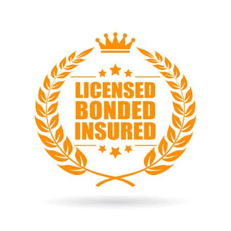 Licensed bonded insured laurel business icon Illustration