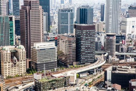 OSAKA, JAPAN - April 30, 2018: General view of populous Japanese megalopolis