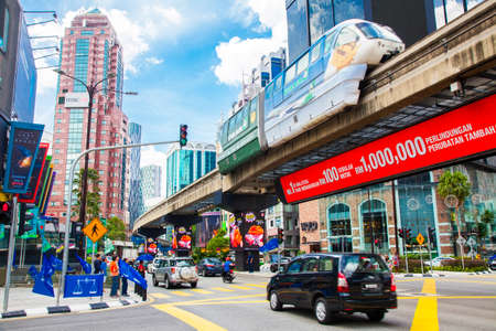 KUALA LUMPUR, MALAYSIA - 20 April 2018: Jalan Sultan Ismail road and Bukit Bintang district busy shopping and business area Redakční