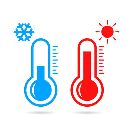 Hot and cold temperature vector icon Çizim