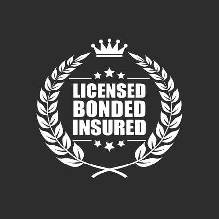 Licensed bonded insured vector icon