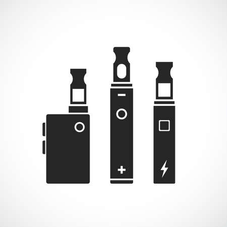 E-smoking device vector icon set