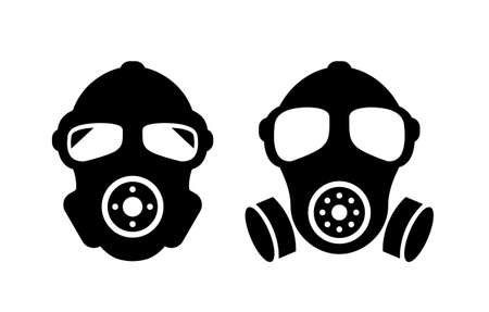 Gas mask vector sign set