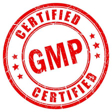 Timbro rosso grunge certificato gmp