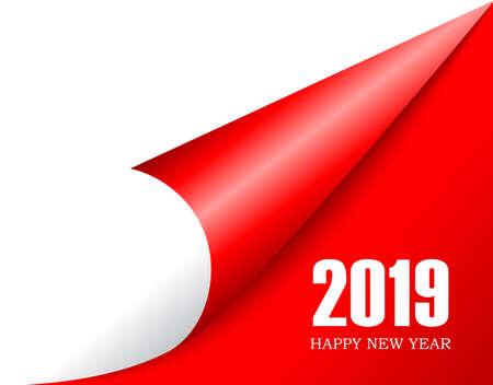Das neue Jahr 2019 steht vor der Tür, blättere um Vektorgrafik