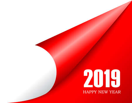 Se acerca el año nuevo 2019, pasa la página Ilustración de vector