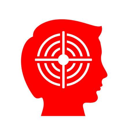 Human head and bullseye vector icon