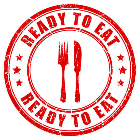 Ready to eat red rubber stamp