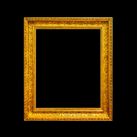 Ornate gold frame isolated on black background