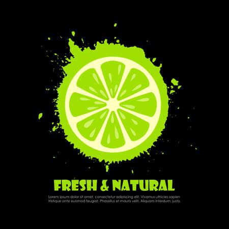 Cartel de vector de salpicaduras de limón verde