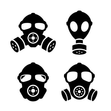 Gas masks icons set