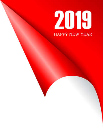 Curled page corner 2019 New Year
