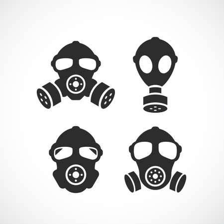 Respirator vector icon set Illustration