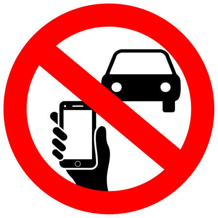 No texting and phone use while driving vector sign Illustration