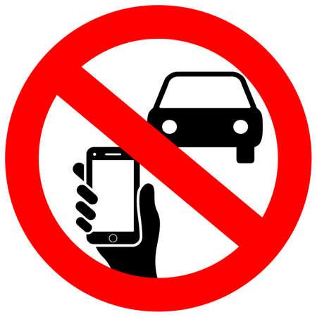 Geen sms'en en telefoongebruik tijdens het rijden van vectorteken