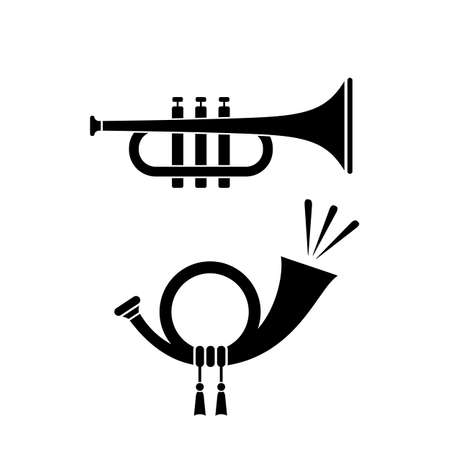 Trumpet and horn musical instrument icon