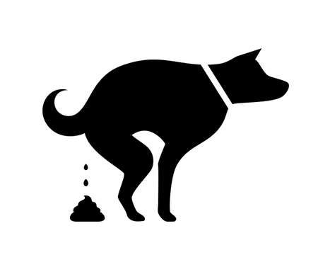 Dog pooping vector silhouette