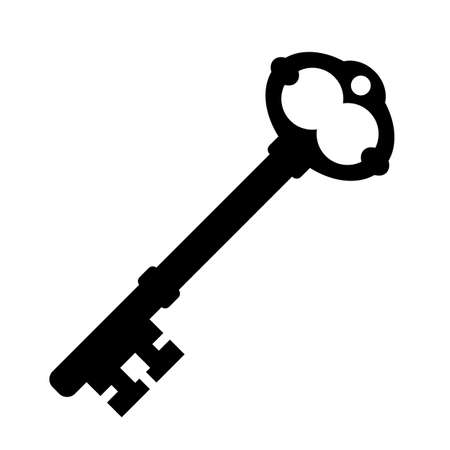 Old key silhouette vector icon