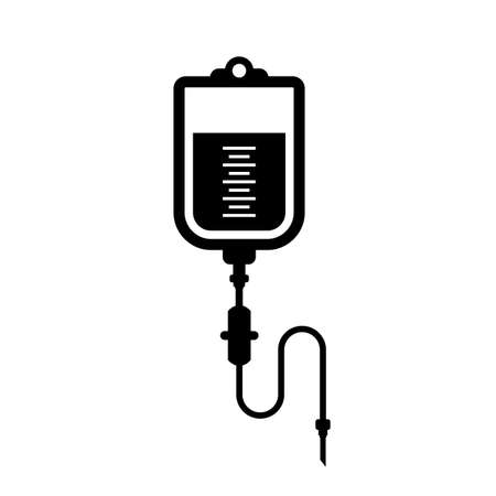 Iv blood bag vector icon Illustration