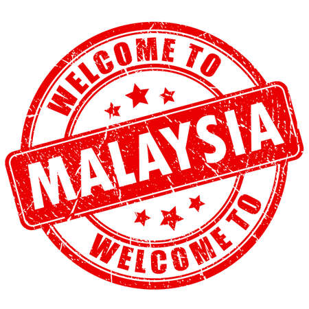 Welcome to Malaysia red grunge round stamp Vetores