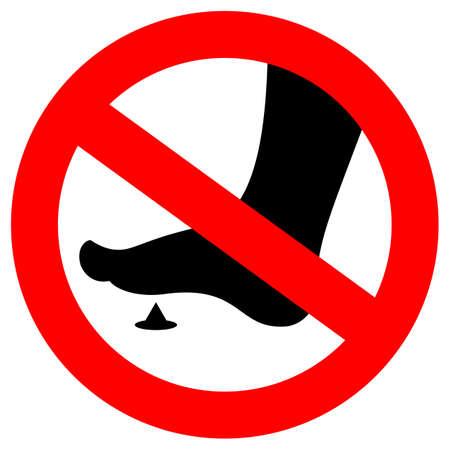 No bare feet sign, sharp spike danger