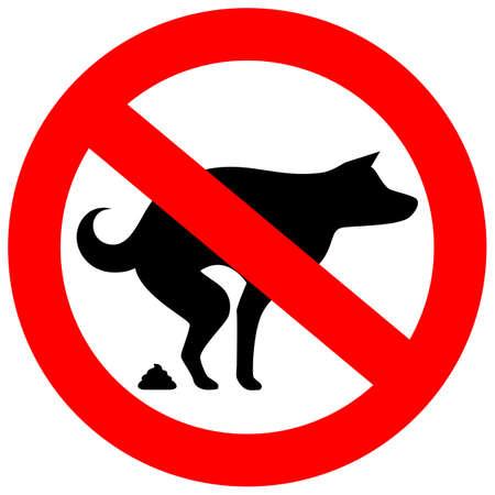No hay señales de vector de caca de perro Ilustración de vector