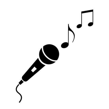 Icona microfono e note musicali