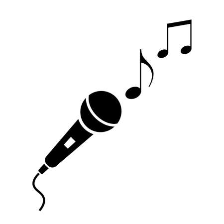 Microphone and musical notes icon Illustration