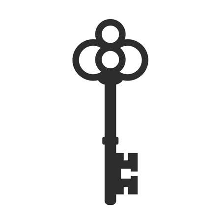 Old key vector icon Stock Illustratie