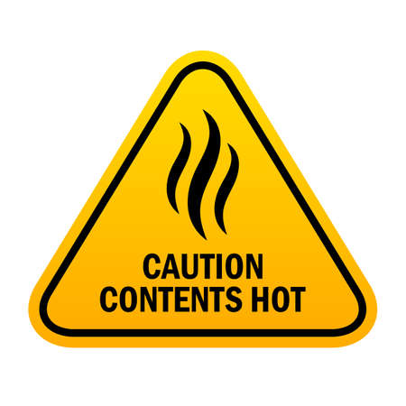Caution sign contents hot