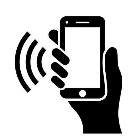 Hand holding phone vector icon