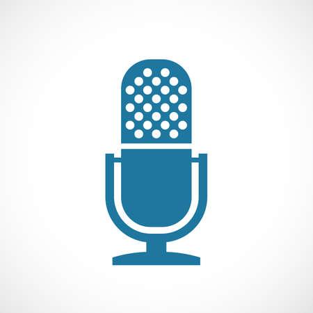 Old studio microphone vector icon