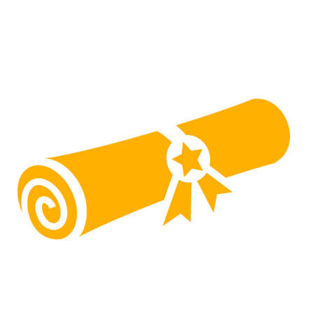 Icono de vector de diploma de grado de oro