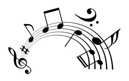 Notes and musical melody icon