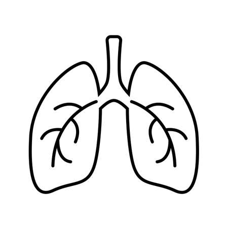 Lungs simple line icon Illustration