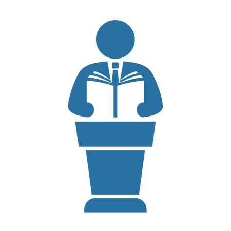 Public speaker with handbook vector icon