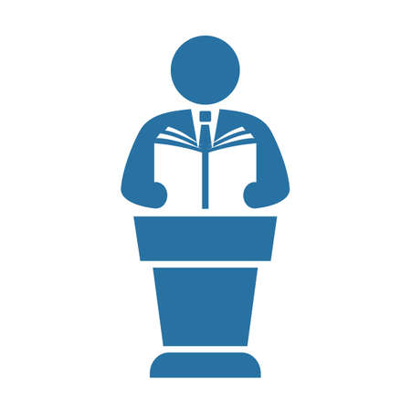 Public speaker with handbook vector icon