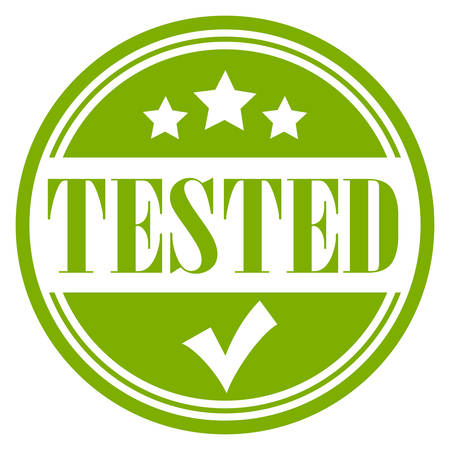 Tested and approved green vector stamp
