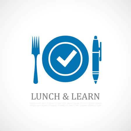 Almuerzo y símbolo de aprendizaje Ilustración de vector
