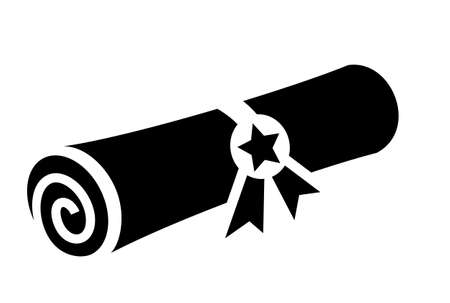 Old rolled certificate icon