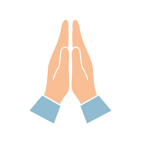 Namaste hands greeting symbol Illustration