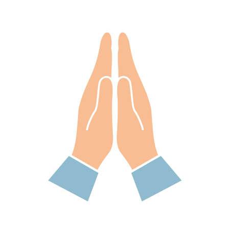 Namaste hands greeting symbol Illustration