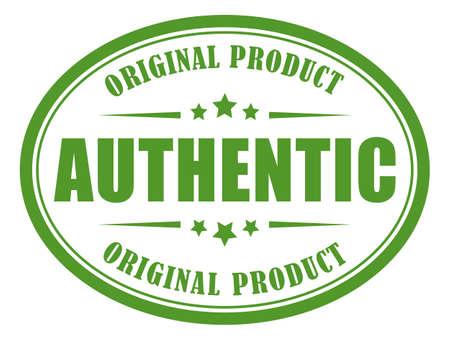 Authentic green label Vetores