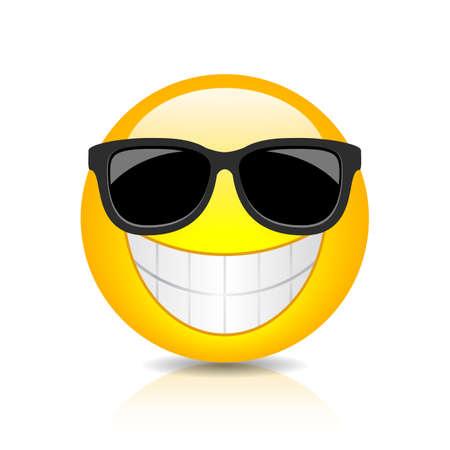 Cool happy emoji with sunglasses