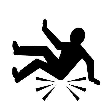 Fall hazard vector pictogram